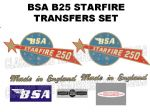 BSA B25 Starfire 250cc Transfer Decal Set Planet with Star